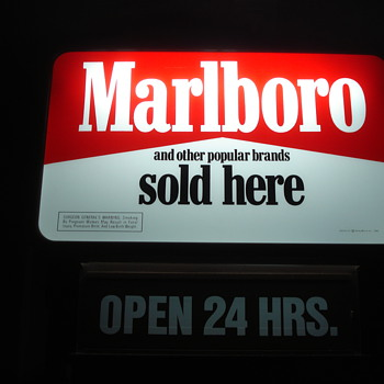 VINTAGE TOBACCIANA ADVERTISING MARLBORO CIGARETTE SIGN & MARLBORO RACING CAR LIGHT-UP SIGN