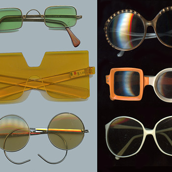 Six vintage 60s-early 70s Hippie / MOD Sunglasses