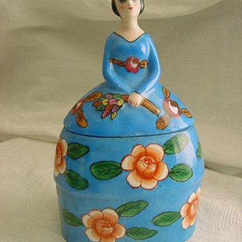 Vintage ? Art Deco Pottery or Porcelain Figural POWDER BOX Lady MYSTERY - Art Pottery