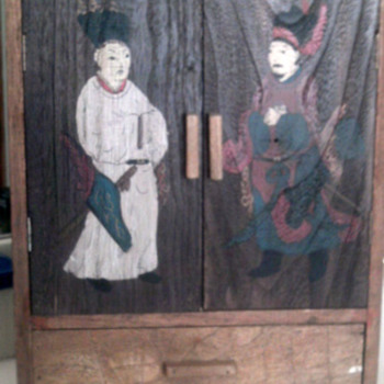 Old  Asian  Wood  PaintedStorage Box With Drawers - Asian
