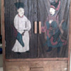 Old  Asian  Wood  PaintedStorage Box With Drawers