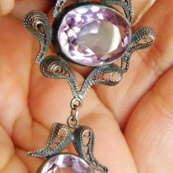 Antique Victorian Amethyst Sterling Silver Filigree Lavaliere Pendant  - Fine Jewelry