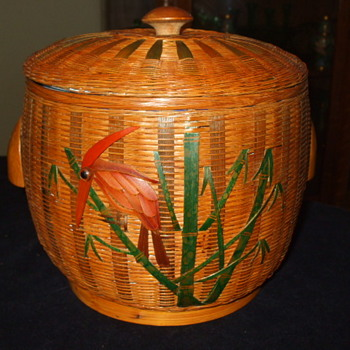 GRANITE WARE With A Flair  Decorated  Basket-Work Ice Bucket