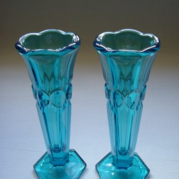 Czech Art Deco Pressed Glass Vases