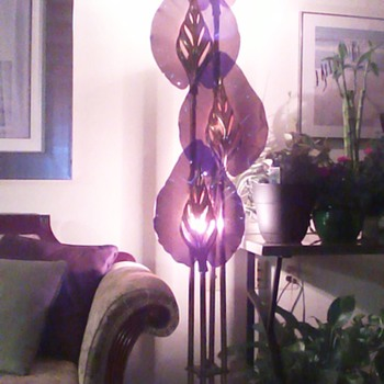 Table and Floor Lamps - Smoked Lucite and Brass Leaves