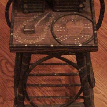 Bentwood Folk Art Log Cabin Smoking Stand