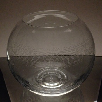 Etched Crystal Fish Bowl Vase - Glassware