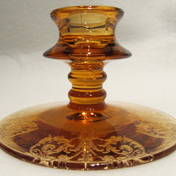 Candlestick - Amber Glass with Etching PATTERN UNKNOWN