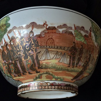 Antique Chinese Large Presentation Bowl 1900's Emperor  reviewing his Soldiers     - Asian