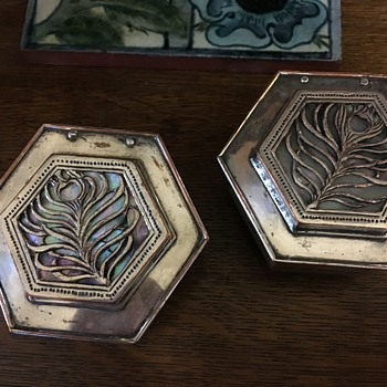 Arts & Crafts silver-plate & abalone boxes