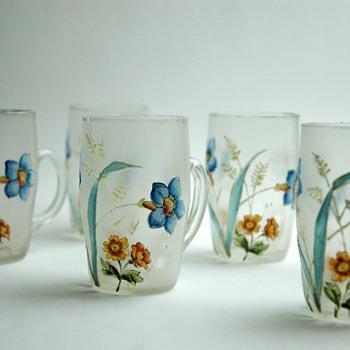 set of six enamel glas - probably by legras