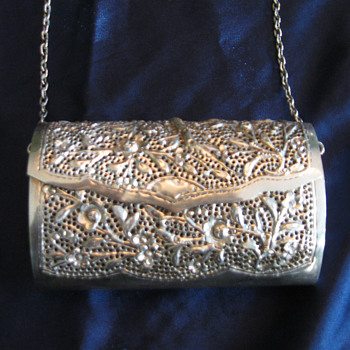 Silver purse with chain