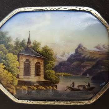 Enamel landscape, early Victorian brooch.