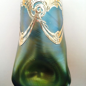 Signed Loetz with Silver Overlay - Art Glass