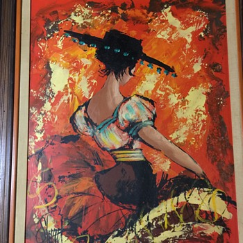 Spanish Lady Dancer  Vintage painting on board unknown age - Visual Art