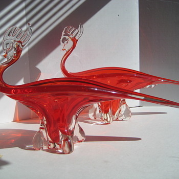 Pair of Canadian art glass figural bowls