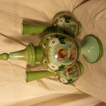 antique apothecary ? decanter hand painted looks very rare