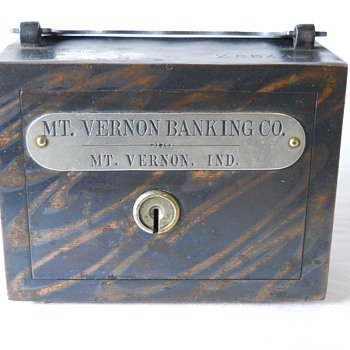 "Promotional Advertising Steel Bank""Mont Vernon Banking Co,Indiana""c 1900 - Coin Operated"