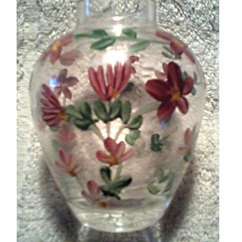Tiny Clear Glass Vase / Hand Painted Flowers/Unknown Maker and Age - Art Glass