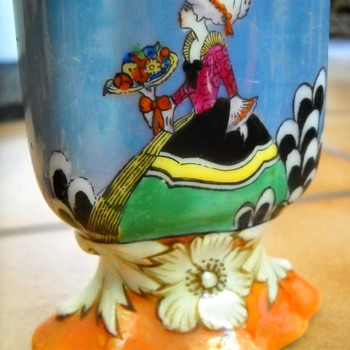 Noritake Lusterware Hand Painted Lady Card Holder - Art Pottery