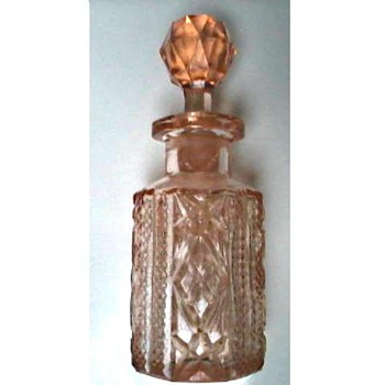 Pink Pressed or Cut Glass Perfume Bottle and Stopper/ Circa 1930's