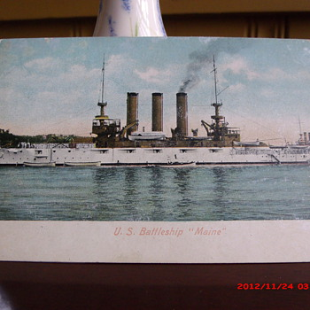 "Postcard of the U.S. Battleship ""Maine"" - Military and Wartime"