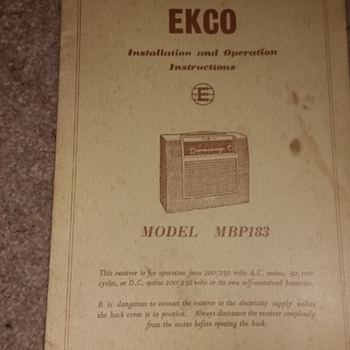 EKCO Installation and Operations instructions paper instructions for the model MBP183.