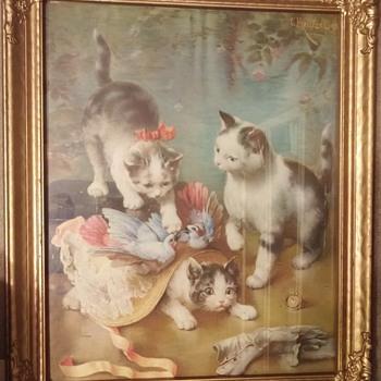 """C. Reichert Framed Print """"Mischievous Kittens"""" - Visual Art"""