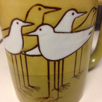 mid-century bird mug