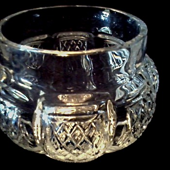 Melon Shaped 9 Sided Glass Vase / Diamond Cross Hatch Pattern with Starburst Bottom/Unknown Maker and Age