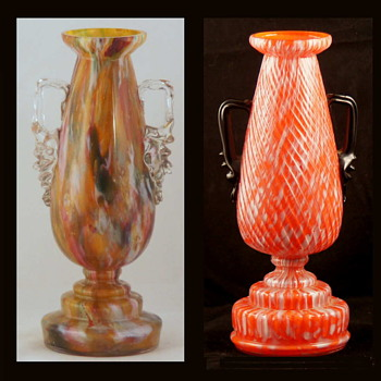 Welz Trophy Vases - A distinctive Shape in Distictive Decors - Art Glass