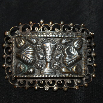 Egyptian Revival Silver Vintage Brooch - Fine Jewelry