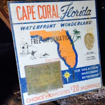 Vintage 1959 Cape Coral Florida 3/5 ft sign advertising lots for sale.