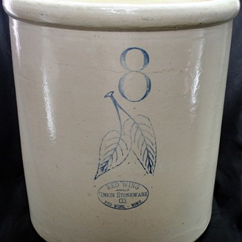 Vintage 8 Gallon Redwing Crock - Art Pottery