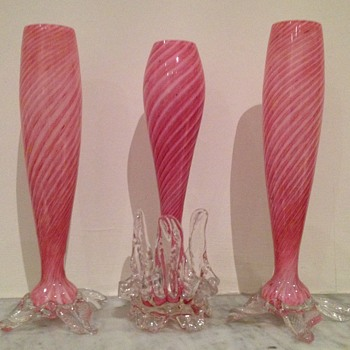 3 pink candy stripe bud vases with rigaree