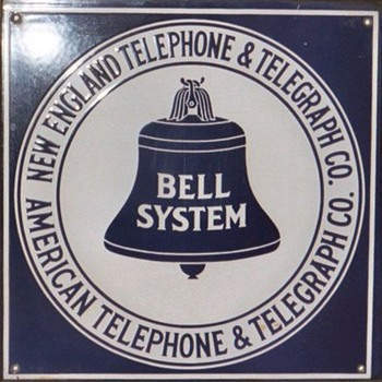 New England Telephone &amp; Telegraph Square Porcelain Sign