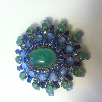 Green and Blue Schreiner Dome Brooch - Costume Jewelry
