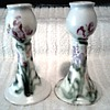 Cloud's Pottery Folsum California /Hand Painted Floral Design Candlesticks / Circa 1999