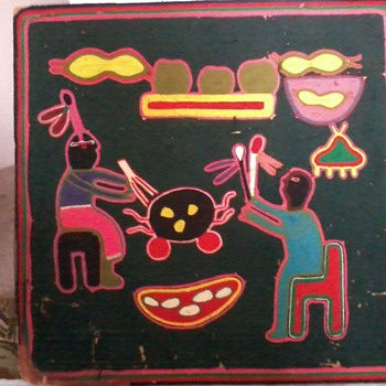 Huichol Yarn Painting-Very Old - Native American