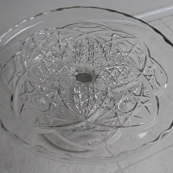 pedestal cake platter with center flower-hobnails-arches