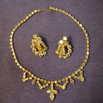 Gem Necklace and Earrings from my Great-Grandma - Costume Jewelry