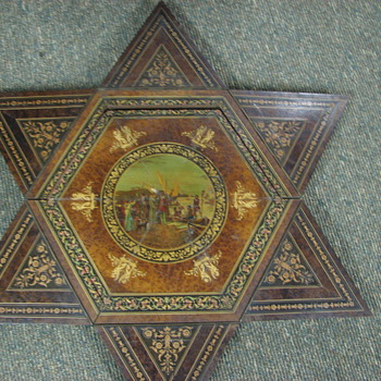 Folding Table Octagon to Star Walnut with Mural French? Italian?