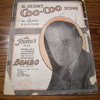 SIGNED AL JOLSEN SHEET MUSIC COVER - Music Memorabilia