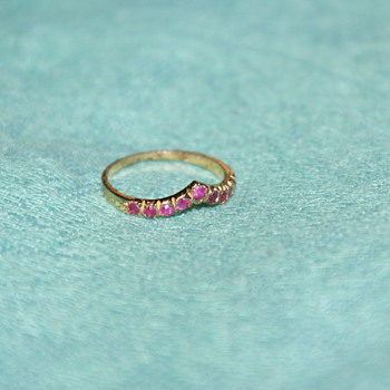 Costume Ring with Ruby Glass Stones - Costume Jewelry