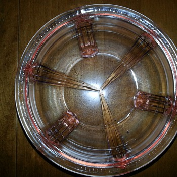Vintage pink depression glass footed bowl