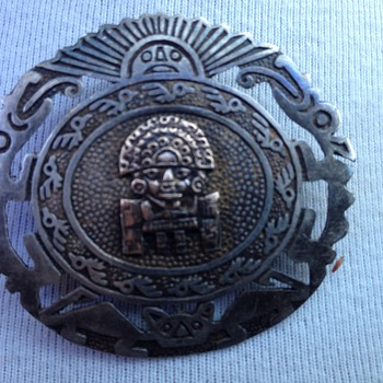 Vintage silver Aztec brooch it was my grandmothers it might be from 1950s - Native American