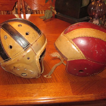 1930's Leather Football Helmets - Sporting Goods