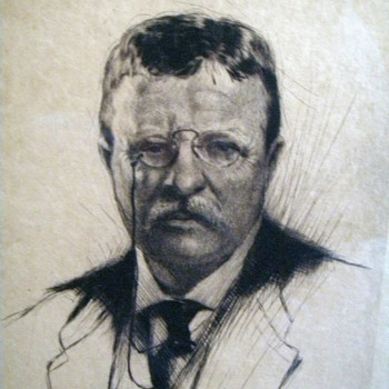 Theodore Roosevelt Etching Signed 1919 by Joseph Pierre Nuyttens