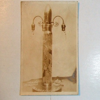 RPPC of large Trench Art lamp made on USS Huntington