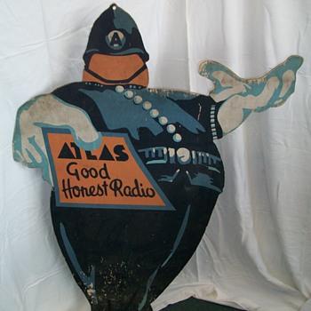 Atlas Radio free standing advert circa 1920
